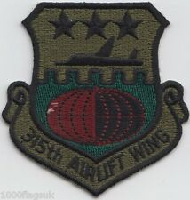 315 Air Wing Squadron US Air Force Subdued Embroidered Patch Badge *