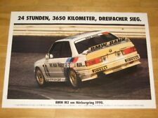 BMW M3 E30 POSTER 14 - am NÜRBURGRING 1990 - RAR DIN A1 ORIGINAL VINTAGE IN MINT