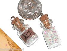 1pc. Miniature Wish Fairy glitter Christmas Glass bottle necklace charm pendant