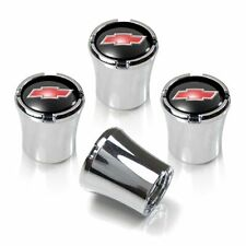 Chevy Red Bowtie Tire Valve Stem Caps Black and Silver Set of 4 MADE IN USA