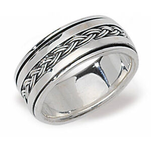 Men's Sterling Silver Spinner Ring Wedding Band Gents 925 Hallmark Sizes R - Z+2