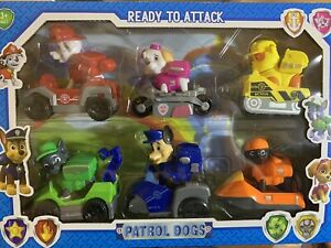 6 PCS Racer Car Patrol Paw Dog Action Figure Removable Pups Kids Toys Gifts Play
