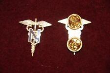 NURSE NURSING OFFICER'S COLLARS PAIR WW2 COPY BROWN N IN CADUCEUS ONE PIECE
