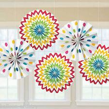 5 Rainbow Multi Colour Chevron Polka Dot Party Hanging Paper Fan Decorations
