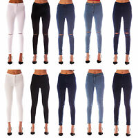 WOMENS LADIES HIGH WAISTED STRETCHY SKINNY FIT JEANS JEGGINGS 6/8/10/12/14/16/18