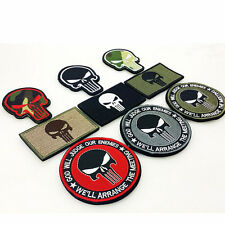 9 PCS PUNISHER SKULL TACTICAL USA FLAG 3D EMBROIDERY MILITARY ARMY MORALE PATCH