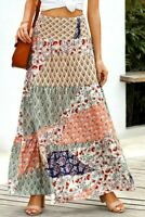 Sage & Navy Patchwork Printed Boho Ruffle Tiered Smocked Maxi Skirt MEDIUM 8-10