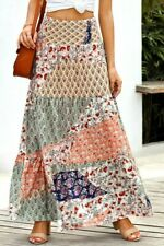 Sage & Navy Patchwork Printed Boho Ruffle Tiered Smocked Maxi Skirt SMALL 4-6