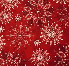 Christmas Dreams BTY Ivy Lane Quilting Treasures Red Bandana Snowflakes