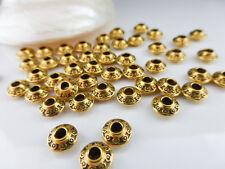 50 x Tibetan silver Piattino Distanziatore Perline Oro Antico 6.5 mm x 4 mm, perline in metallo