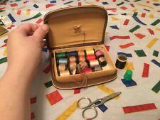 Vintage Travel Sewing Kit Set Lot Scissors 19 Spools Of Thread Green Thimble Htf