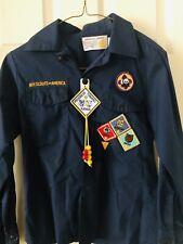 Vintage BSA  Boy Scouts Of America Uniform Shirt w patches Webelos Sz 12