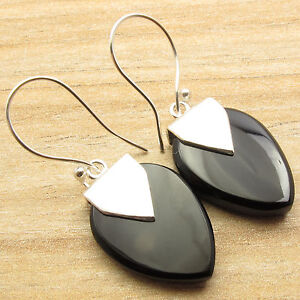 Perfect For A Black Tie Party ! 925 Silver Plated BLACK ONYX Earrings 1 5/8 Inch