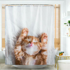 Cat Pattern Shower Curtain Bathroom Waterproof Include Hooks Room Decor CB