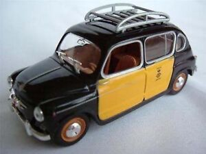 FIAT SEAT 800 CAR BLACK & YELLOW TAXI 1/43 MODEL 4 DOOR ISSUE K8796Q 500 ~#~