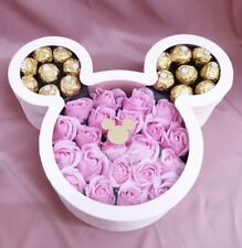 Luxury Mickey Mouse shaped flower gift packaging box with lid.( PINK )
