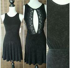 NWT Free People Embossed Lady Jane Black Slinky Lace Trim Keyhole Dress XS/S $98