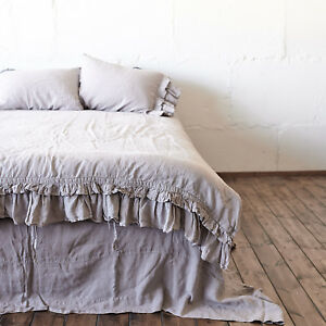 100% linen DUVET COVER with one double ruffle. Queen duvet cover King quilt
