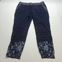 Old Navy Blue Floral Boho Pull On Elastic Waist Crop Pants Sz M A1738
