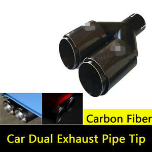100% Real Carbon Fiber Universal Car Dual Exhaust Pipe Tail Muffler Tip Glossy