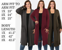 PLUS SIZE WOMENS COMFY FIT LONG SLEEVE SOLID COAT JACKET CARDIGAN SWEATER TOP