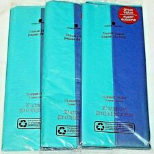 American Greetings Dark & Light Blue Tissue Paper - Lot of 3 10 Sheets/Pack