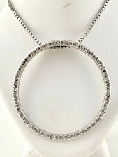 """Diamond 1.6"""" Circle Pendant Necklace in Solid 14k White Gold (0.50 ct. t.w.)"""