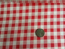 1 yard Shiny Taffeta Gingham Print - Red & White- 9 yds available - new on roll