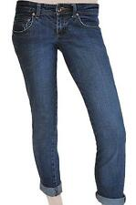 BILLABONG SZ 8 WOMENS Blue Skinny 3/4 Cropped Capri Cuffed Stretch Denim Jeans
