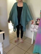 AQUA KNIT LUREX THREAD CAFTAN  KIMONO COVER UP THROW OVER ONE SIZE FITS MOST