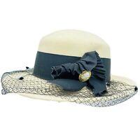 Vintage Betmar Women's New York Wool Hat Cream Netting Fancy Formal Fascinators
