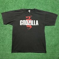 Godzilla T Shirt Movie Promo 2014 Monster Kanji Graphic Logo Black Size Large