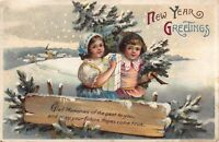 Two New Year Postcards Children Carrying Tree and Presents in the Snow~114955