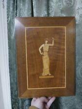 Folk Art Primitive Wood Inlay Art Listed Artist Charlie Link Mid-century Vintage