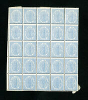 Italy Stamps 1800's Mint Block of 25x 1 Centino Blue Black OG