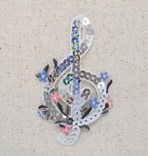 Treble G Clef - Silver/Sequin - Music/Note - Iron on Applique/Embroidered Patch