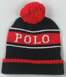 Polo Ralph Lauren Collectable Stadium Black White Red Wool Beanie Hat NWT
