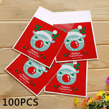 100pcs Christmas Red Deer Cello Cellophane Party Favour Sweet Biscuit Gift Bags