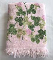Dundee Vintage Bath Towel Pink Clover and Flower Cotton Blend USA