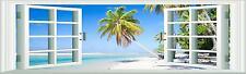 Huge Window Scene Beach and palm Tree Wall Art Sticker Free Postage