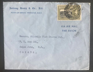 1950 Port Of Spain Trinidad Commercial Airmail Cover To St John Canada