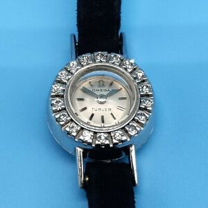 Solid 18ct Gold Omega Ladies Cocktail Watch c1947 set with 18 brilliant Diamonds