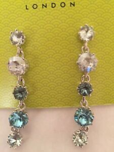 TED BAKER Crown Crystal Long Drop Earrings in blue silver white New with packag/