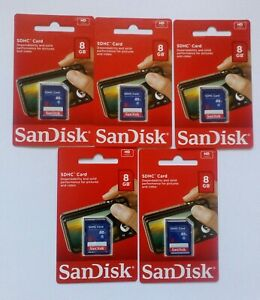 NEW SanDisk 8GB SD Card SDHC Memory Card Class 4 ( 5 pcs)