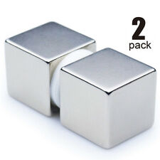 2 Pack 1 Inch Solid Cube Craft Magnets Large Neodymium Rare Earth Strong USA