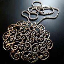 Sterling Silver 925 HUGE pendant Necklace artisan Vintage handmade filigree