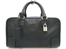 Authentic LOEWE Black Amazona 28 Leather Handbag w/Dust Bag/Padlock/Clochette