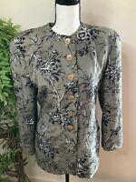 Giorgio Armani Women's Silk Blazer Size 40/ 7.5 100% Silk Floral Print Tan