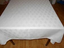 160 x 52 Vintage 13FT IRISH LINEN BANQUET SZ COTTON DAMASK GREEK KEY Tablecloth
