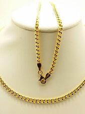 21k Solid Yellow Gold Flat Curb Link Necklace/ Chain 7.5 Grams